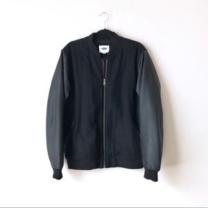 Old Navy Recycled Wool /Faux Leather Bomber Jacket